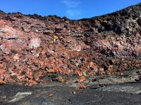 To better understand the dynamics of Kīlauea's 2018 lower East Rift Zone lava flow, an HVO geologist recently collected samples from the fissure 8 channel for laboratory analyses. USGS photo by M. Zoeller. Photo taken Tuesday, February 19, 2019 courtesy of U.S. Geological Survey