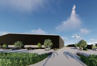 Additional renderings of the Air Service Hawaii's FBO/hangar provided by Nicholson LLC.