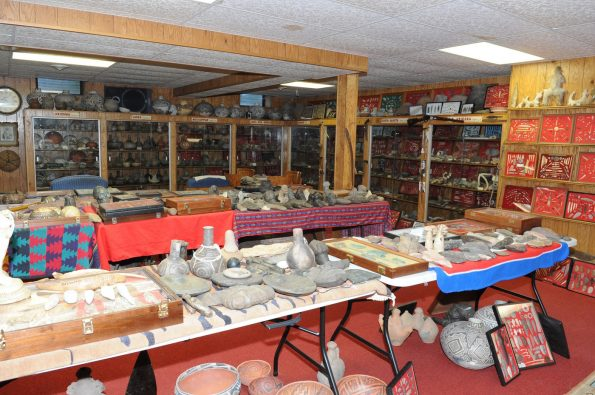 Artifacts on display at Don Miller's farm in 2014. For more than seven decades, Miller unearthed cultural artifacts from North America, South America, Asia, the Caribbean, and in Indo-Pacific regions such as Papua New Guinea. FBI Photo