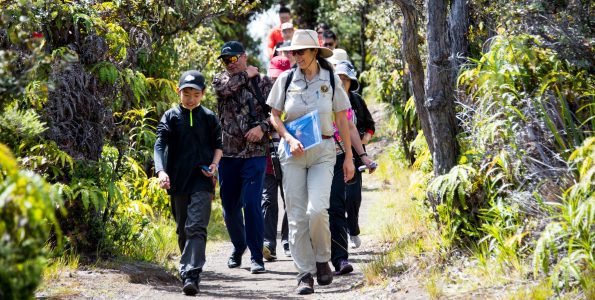 Hikers at Hawaii Volcanoes National Park. NPS Photo