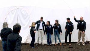 Crew exits HI-SEAS habitat Wednesday, March 6, 2019. Musilova, Mulder, Sirikan, Weert, Burstein, Pothier Photo courtesy of Shannon Manamtam