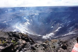 View into Halema'uma'u from the west rim of Kīlauea's summit caldera. USGS photo: J. Kauahikaua, 03 March 2019