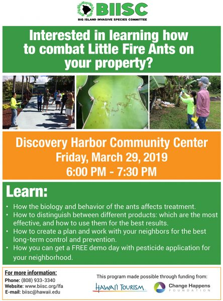 Little Fire Ants meeting coming up 6-7:30 p.m., Friday, March 29, 2019, at Discovery Harbor Community Center.