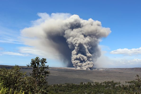 The plume from the Kilauea collapse event on May 14, 2018. NPS Photo by Jessica Ferracane