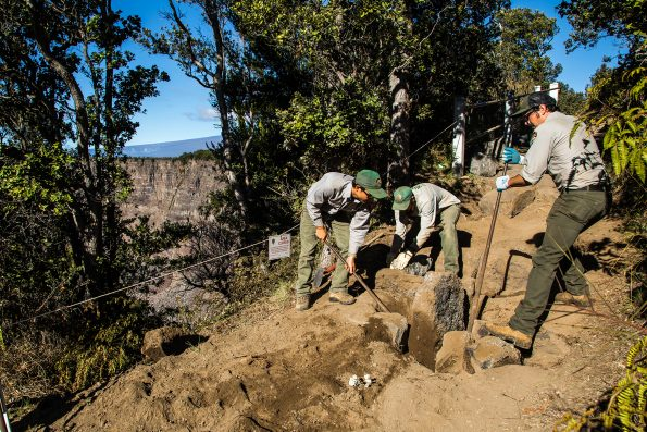 Repairing Crater Rim Trail. NPS Photo by Janice Wei.