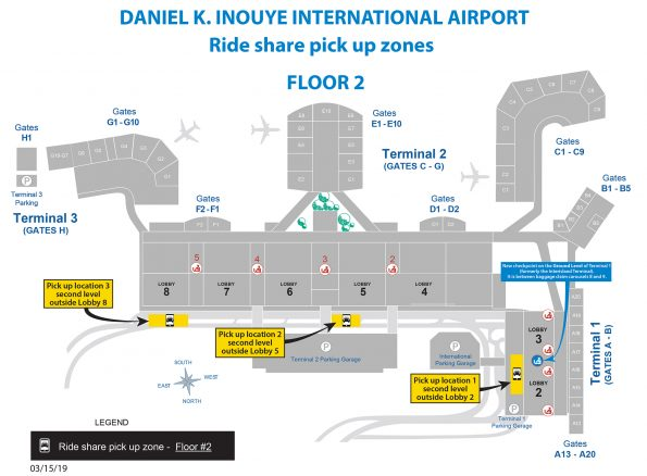 Daniel K. Inouye International Airport (HNL) Rideshare Pickup Zones