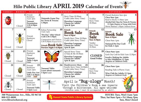 Hilo Library April 2019 Calendar of Events