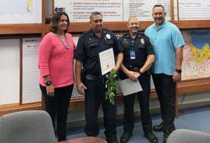 (L-R) Paola Pagan, Officer John Kahalioumi Captain Jeremie Evangelista, Michael Vasquez