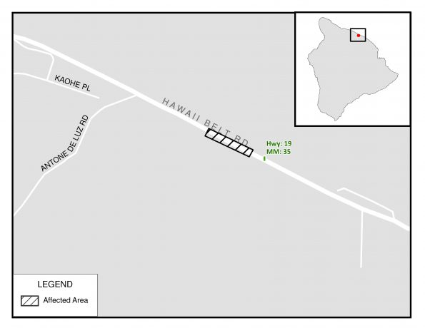 Partial lane closure in Paauilo