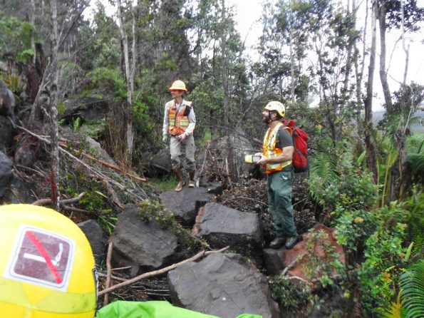 National Park Service geomorphologists inspect a rockfall on the Byron Ledge Trail. NPS Photo