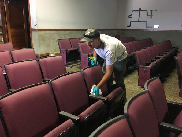 Preparing the Kilauea Visitor Center auditorium. NPS Photo