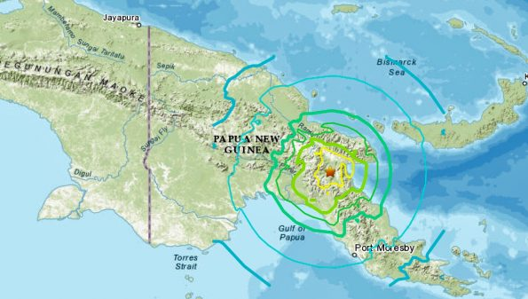 Epicenter of quake in Papua New Guinea Monday, May 6, 2019.
