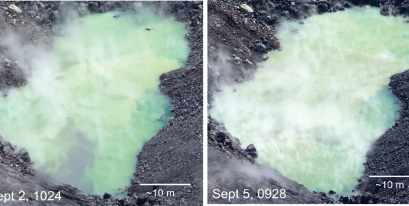 Day-to-day changes in the water level at the bottom of Halema'uma'u are subtle and impossible to accurately measure. But when comparing views of the pond over several days some differences can be seen, as shown in these images. Rocks that were visible in the water on September 2 could no longer be seen today (September 5). Note particularly that two rocks protruding above the water at the top of the September 2 photo are now submerged—evidence that the pond continues to slowly rise. USGS photos by D. Swanson.
