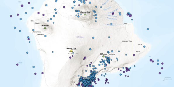 About 1300 earthquakes with magnitudes greater than 1 and at depths over 20 km (12 mi) on and around the Island of Hawaiʻi since August 2019 are depicted on this map. Most of the earthquakes were clustered beneath the southern edge of the island near the town of Pāhala. Blue and purple dots indicate earthquakes at 20-40 km (12-25 mi) and more than 40 km (25 mi) depths, respectively. USGS map by B. Shiro.